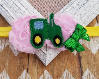 Tractor headband, girls tractor headband, toddler headband, baby tractor headband, felt headband, elastic headband, headband, farm headband