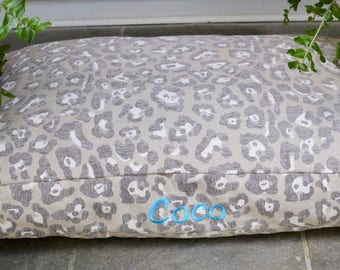 Personalized Grey Chenille Neutral Animal Print  -  Extra Large Custom Dog Bed Cover  -  Embroider with your Pups Names * TSD