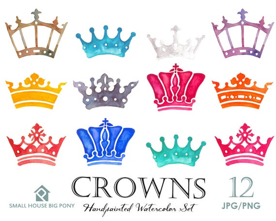 Digital Clipart- Crest Clipart,Shield Clip art, Clipart, wedding invitation clip art- 16 watercolor crown design