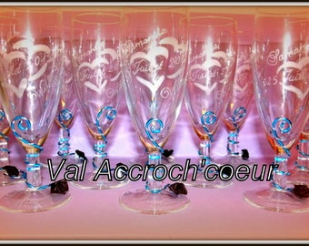 set of 50 personalized and engraved wedding champagne Flutes or other