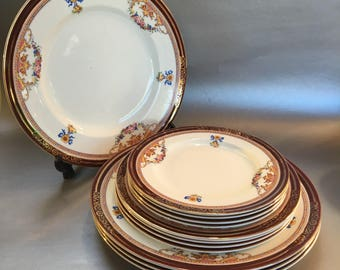 "16 Piece Antique Alfred Meakin England Bleu de Roi 5"" China Plate Set, Dinner, Salad, Bread and Side"