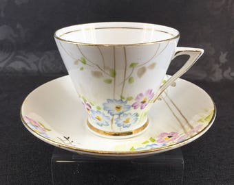 Phoenix Art Deco Floral Bone China Tea Cup Vintage England