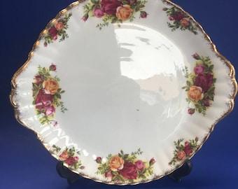 "10"" Royal Albert Old Country Roses English Bone China Cake Plate"