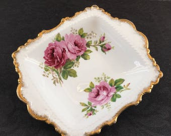 "Royal Albert American Beauty English Bone China 7"" 1941 Square Snack Plate Serving Tray"