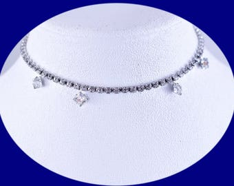 Vintage Choker Vintage Rhinestone Choker Statement Choker Vintage Jewelry Silver Choker Wedding Jewelry Brides Choker Necklace Brides