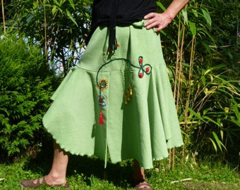 """Spring/summer, asymmetrical skirt """"green"""" loose """"color of hope"""" hand embroidered"""