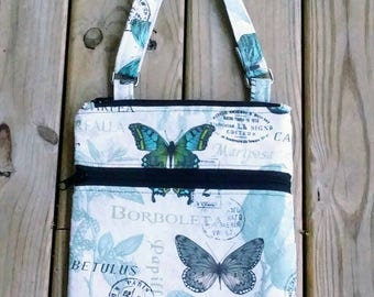 Butterfly bag, butterfly hipster, cross body purse, Gifts for her, custom bags, iphone bag, tablet bag, shoulder bag, paris bag