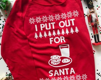 Ugly Christmas Sweater. I Put Out For Santa. Santa Claus. Milk and Cookies. Off the Shoulder Sweater. Sweatshirt. Christmas. Gift