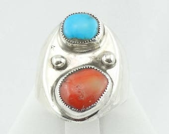 Traditional Southwest Native American Turquoise and Coral Sterling Silver Ring  FREE SHIPPING! #REDBLUE2-MS