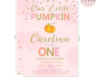 Pumpkin Invitation Our Little Pumpkin Birthday Invitation Pink & Gold Sparkle Pumpkin Halloween Birthday Pink and Sparkle Fall Birthday
