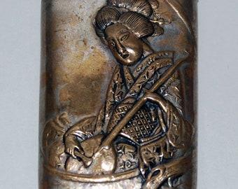Victorian Era Japanese Geisha Brass Match Safe, Holder, Vesta Case -- Free Shipping!