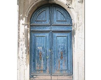 Venice Italy Wall Art, Door Photography, Rustic Art, Blue Door Photograph, Aged Door, Vertical Wall Picture, Travel Art, Weathered Door,