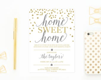 Housewarming Party Invitation, Housewarming Invitation, Printable Invitation, Home Sweet Home, Our New Home, Gold Housewarming Invite [568]