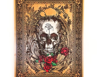 Gothic Home Decor - The Dark Tower - Stephen King - Day of The Dead - Gothic Decor - Skull Art - Skull Print - Skull Roses - Crimson King