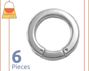 "1 Inch Flat Cast Screw Gate Rings, Nickel Finish, 6 Pieces, Handbag Purse Bag Making Hardware Supplies, 1"", RNG-AA031"