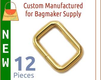 "3/4 Inch Rectangle Rings, Gold Finish, 12 Pack, Purse Handbag Bag Making Hardware Supplies, .75 Inch, .75"", Rectangular, RNG-AA366 New Item"