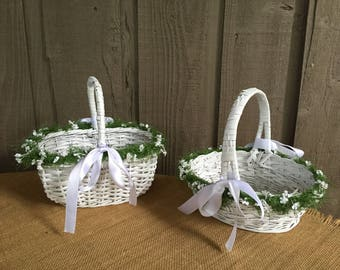 Flower girl baskets/ white flower girl baskets