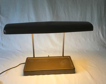 Vintage 1940's metal fluorescent desk lamp heavy duty office lamp bronze colored metal shade and base
