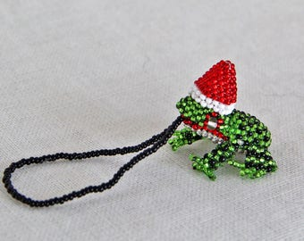 Frog with Santa Hat Holiday Ornament, Beaded Christmas Tree Ornament, Guatemalan-made