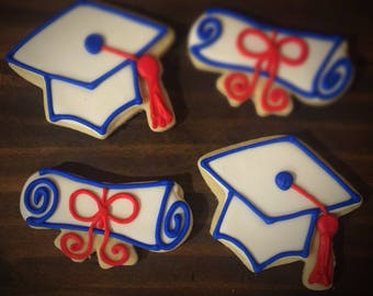 Graduation Themed Decorated Sugar Cookies