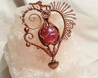 Pink Rainbow Dragon Glass Wire-Wrapped Copper Heart Pendant - Gothic, Goth, Steampunk Necklace with Dragon's Breath Opal