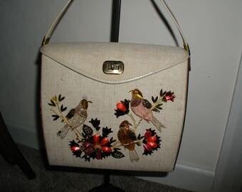Vintage 1950 Linen Bird Handbag