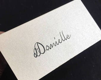 Pearlescent Ivory or Cream Wedding Place Cards/Names Handwritten in Calligraphy