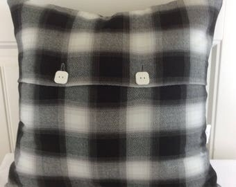 Checked Black and White Pillow Cover, Fall Sham, Christmas Cushion, different sizes, Plaid Pillow