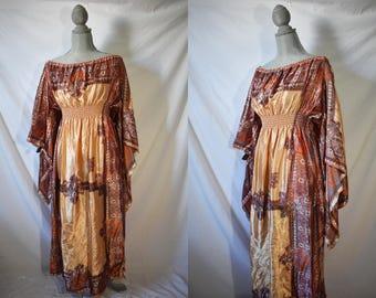 Vintage 80s Boho Caftan Dress Ethnic Maxi Dress Festival Caftan Dress Muumuu Dress Hippie Caftan Ethnic Caftan Hippie Dress