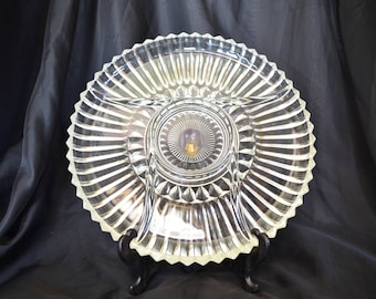 Vintage Glass Divided Serving Dish/Platter/Tray, Made by Kromex Glass