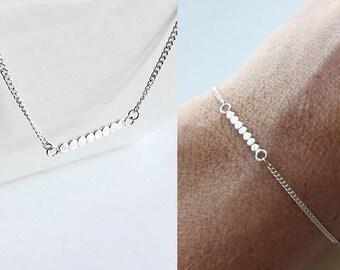Gift Set, Dainty Bracelet & Necklace, Bar Necklace, Bar Bracelet, Minimalist Silver Set • Delicate 925 Sterling Silver Set, Gift For Her