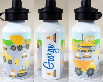 Digger water bottle personalised bottle personalized
