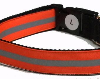 Dog Collar, Reflective - Orange