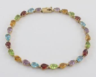 14k Yellow Gold Multi Stones Bracelet, 14k Gold Muti Color Stones Bracelet, Gemstones Bracelet