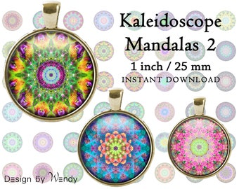 Bottle Cap Images 1 inch / 25 mm Kaleidoscope Mandalas 2 INSTANT DOWNLOAD Collage Sheet Abstract Round Images Printable Cabochons
