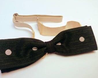 Vintage 50s Madmen dark green polkadot bowtie midcentury fashion