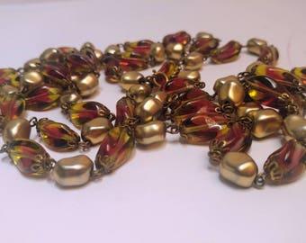 Vintage watermelon glass beads necklace flapper