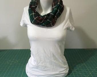 Newfoundland Tartan Infinity Scarf, Reversible Infinity Scarf, Plaid Scarf, Teen girls/Ladies Scarf,Green/Red/White/Brown, Neckwarmer,Cowl