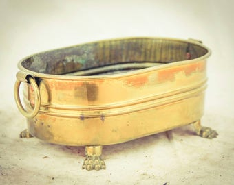 Antique Old Copper Flower Pot Decorative Rectangular Garden Planter Bucket