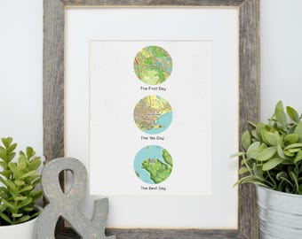 Gift for Wife, Anniversary Gift for Husband, Personalized Map Print, Love Story Print, Paper Anniversary Gift, Circle Map, First Anniversary