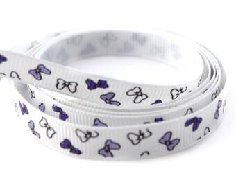 Ribbon 9 mm printed purple bow white grosgrain
