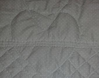 Quilt mint green dotted white hand & machine 52 X36 handmade Pinklady cottage