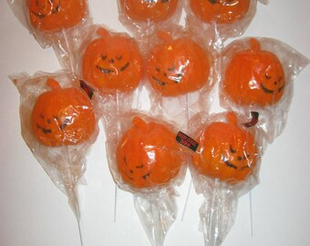 Vintage Halloween Jack O Lantern on Sticks, Plastic Pumpkin on stick, Lot of 9