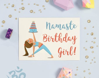 Namaste Birthday Girl! - Cute Yoga Pose Happy Birthday Greeting Card