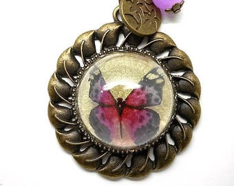 Necklace half globe Butterfly pink, Pink Pearl charms and co.