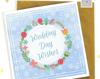 Wedding Day Wishes Greeting Card, Bride and Groom, Boho Inspired, Congratulations