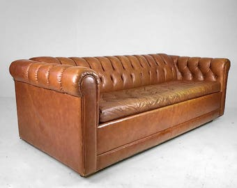 Mid Century Tufted Leather Sofa / Sleeper  SOLDMid Century Tufted Leather  Sofa /