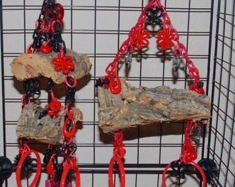 Bluebonnet Hanging Cork Bark Swing (small) and 2 Tier Waterfall