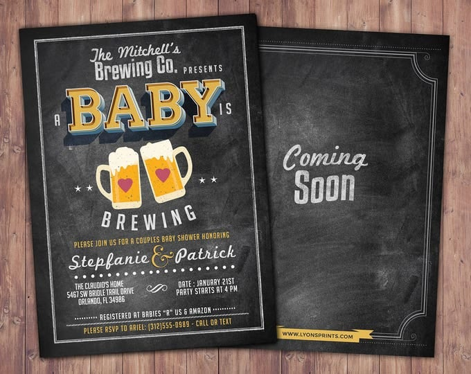 Baby is brewing, Coed baby shower invitation- Beer baby shower invitation- couples baby shower - Digital Files Only, BBQ