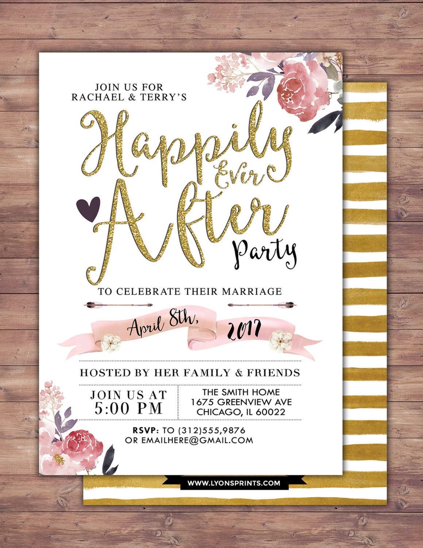 Happily ever after invitation, BOHO wedding shower Invitation ...